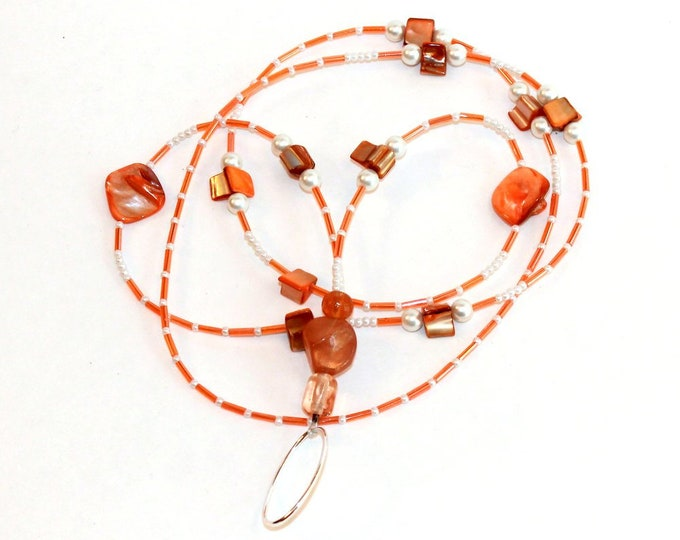 Peach Mother of Pearl Beaded Lanyard, ID Badge Holder, Bell Art Designs LAN0032