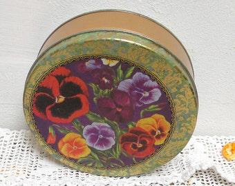 Vintage Pansies Tin, Purple, Orange, Yellow, Red and Green