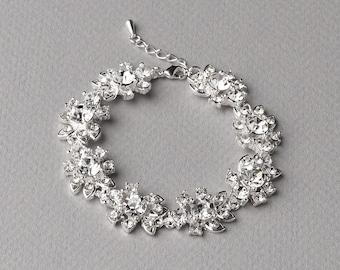 Floral Wedding Bracelet, Rhinestone Bracelet, Bridal Jewelry, Floral Bracelet, Floral Rhinestone Bracelet, Bridal Bracelet, Bride ~JB-4837