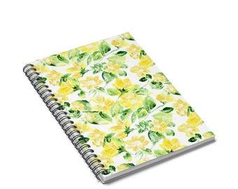 Floral Notebook, spiral notebook, floral journal, flower notebook, flower journal, yellow notebook, yellow journal
