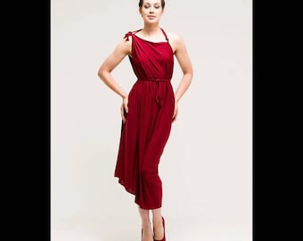 Slinky Cherry Red Backless Party Dress