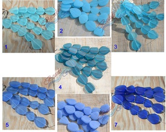 More Color 5pcs (21-27mm) LG Style (2) Blue Flat Freeform Cultured Sea Glass Beads~Jewelry Making Supply~ Beach Glass Beads