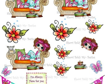 Instant Dwonload 3D deco Card Toppers & Papers Bestie Mandy Big Head Dolls 3d sheet I Love Coco  By Sherri Baldy