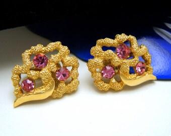 Vintage 1960s Crown Trifari Earrings Pink Rhinestones Gold Tone Clip Ons Gorgeous