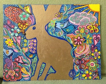 Golden Rabbit original mixed media art on canvas panel/bunny/  Easter art | spring art | original zentangle