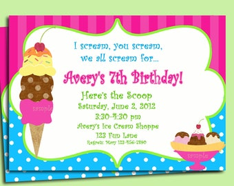 Ice Cream Invitation Printable or Printed with FREE SHIPPING - Ice Cream Brights Collection