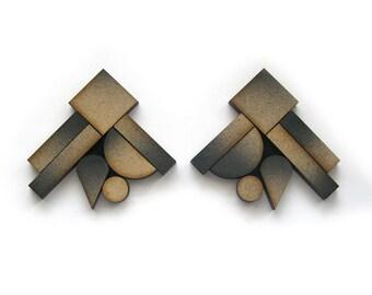BLOCKING 5155 Statement Earrings - Wood earrings, ombre earrings, architectural, modern jewelry, geometric earrings, laser cut, fade earring