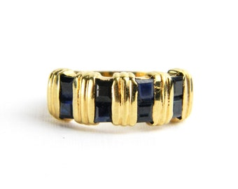 Vintage Gold Synthetic Sapphire Band Ring - Genuine Square Cut Blue Sapphires Cocktail Dinner Ring September Birthstone - Size 7 Signed SETA