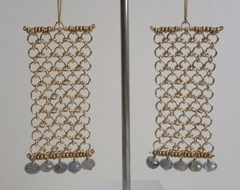 Long Gold Chainmaille Labradorite Earrings Geometric Gemstone Dangles Rectangle Earrings Yellow Gold Mesh Earrings Gold Statement