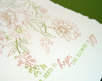 Hope and Joy in the Garden Notecards, set of four