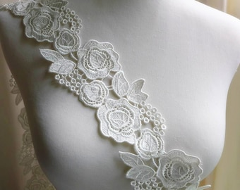 Ivory lace trim rose flower venice lace trim for sashes, wedding gown, appliques