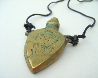 Vintage Brass Perfume Poison Vial Bottle Necklace Boho Victorian 1980s Pendant Distressed Patina