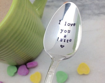 I love you a latte coffee spoon, vintage hand stamped spoon