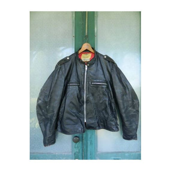 Vintage 1950s Herm's Leathertogs Black Leather Steerhide Cafe Motorcycle Jacket -L- Measurements in Description!