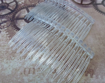 free shipping in UK - 10 pcs Acrylic Hair Clips Hair Combs Transparent 71 x 46 mm