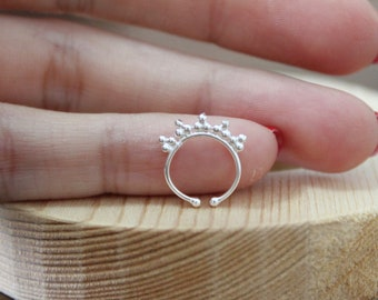 925 Sterling Silver Minimal Fake Illusion Septum Ring / 1 Piece. no piercing needed,can be used as hoop earring, nose hoop. Cuff earring