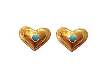 14k yellow Gold Turquoise earrings,Turquoise gold heart earrings,solid gold studs,Turquoise gold studs,gold heart studs,set,Turquoise heart