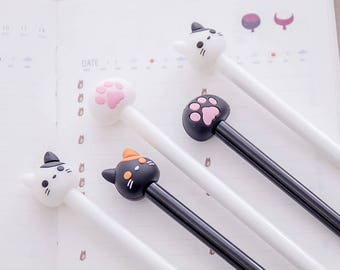 Chat kawaii stylos / Cute Cat stylos / stylos Kawaii adorables stylos adorables Gel de stylos / stylos Gel Kawaii adorables papeterie / Kawaii papeterie / patte de chat
