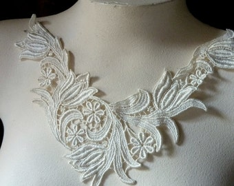 Ivory Lace Applique for Bridal, Jewelry or Costume Design, Altered Couture IA 101
