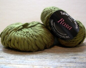 Tahki Yarns Rosa . moss 08 . 1 skein 93yd 85m . bulky chunky thick and thin spun cotton slub yarn . olive green . discount yarn
