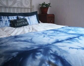 Shibori indigo throw blanket