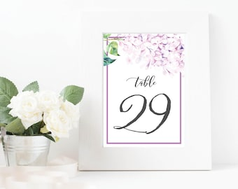 Wedding Table Numbers, 5x7 Table Numbers, Printable Table Numbers, Lilac Wedding, Event Table Numbers, Table Numbers 1-40, Reception