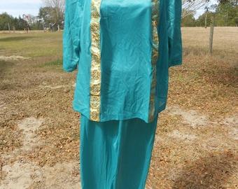 60s Teal Oriental Pajamas