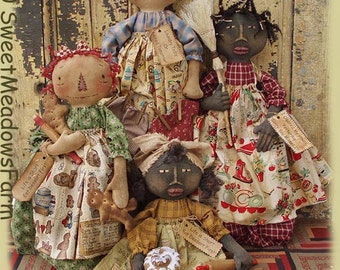 Primitive Doll E-PATTERN Black Doll or Raggedy Toaster Cover, Bag Holder, and more PDF