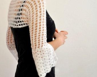 White Bridal Shrug Bolero Wedding Cardigan Jacket Hand Crochet
