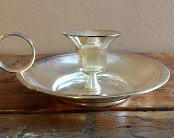 Antique Early American Silver Plate Candle Holder