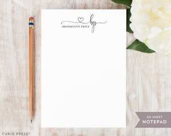 Personalized Notepad - PRECIOUS MONOGRAM  - Stationery / Stationary Notepad - pretty script women's gift