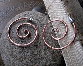 Large Copper Spiral Hoop Earrings