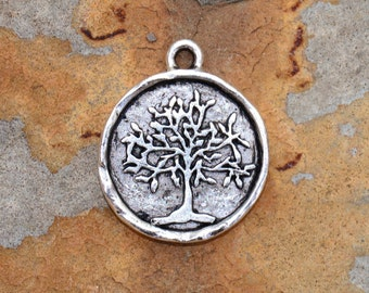 1 Antique Silver Tree of Life 24x20mm Nunn Designs