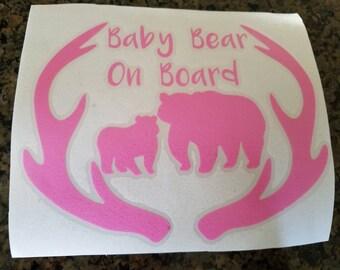 Baby bear on board • car window decal • baby on board • baby window sticker • vinyl decal • antlers