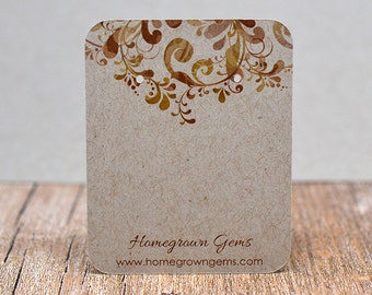 Earring Cards Customized with Brown Floral Pattern and Your Information - Jewelry Display Tags - Price Tags - Earring Tags