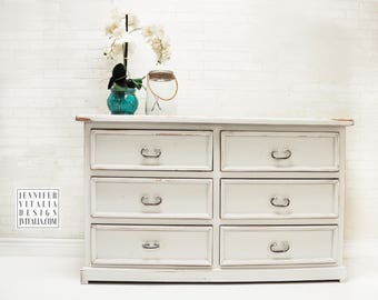 Vintage Coastal Antiqued White Dresser, Hand Painted Rustic Dresser Media  Cabinet Farmhouse Antiqued White