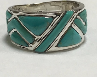 Sleeping Beauty Turquoise Sterling Ring Sz 6 925 Silver Wedding Band Vintage Jewelry Southwestern Mother's Gift