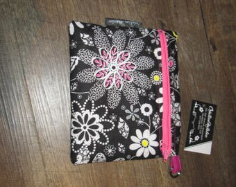 Wipe case makeup pencil case, floral case pink black cotton double zippers