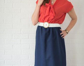 Vintage Red And Navy Ascot Dress (Size Medium/Large)