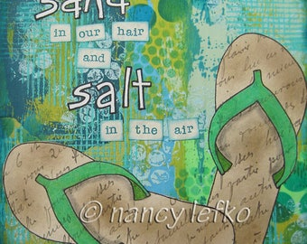 sand in our hair - 8 x 8 Original Collage on Canvas by Nancy Lefko