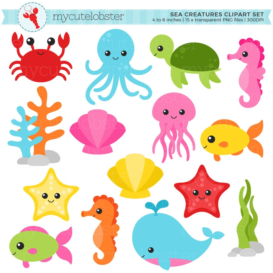 sea creatures clipart set sea animals clip art crab fish rh etsy com Ocean Animals Coloring Pages ocean animals clipart black and white
