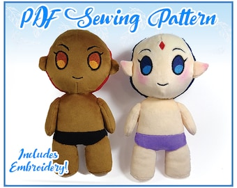 Chibi Human Plush PDF Sewing Pattern and Embroidery (Easy-Intermediate)