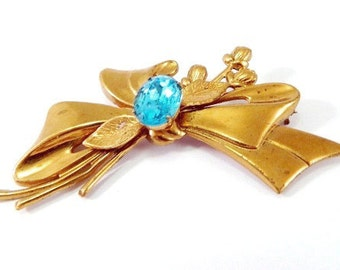 "Vintage Rose Gold London Blue Sash Brooch - Bow Long Stem Roses - Foil Back Rhinestone - Vermeil - 3"" Wide - HUGE"