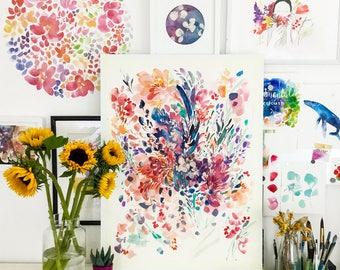 Floral Print. Floral Boho Art. Botanical Art Prints. Flower Print Poster. Boho Floral Wall Art. Purple Floral Wall Decor. Modern Wall Art.