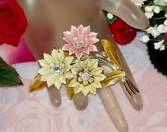 Coro  Enamel & Aurora Borealis Rhinestone Floral Flower Brooch Pin   Vintage Retro 1950's   Lovely Condition