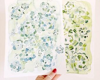 Succulent Art, Succulent Watercolor, Succulent Plant, Original Watercolor Painting, Succulent Painting, Fine Art Painting, Botanical Art