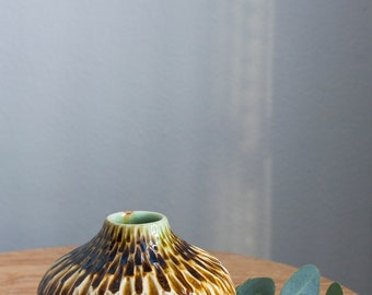 Handmade Ceramic Vase, Bud Vase with Accent Carving, Small Vase