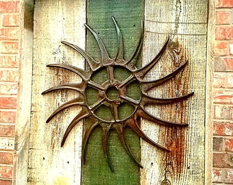 Rustic Industrial Wall Art//cast Iron Reclaimed Wood