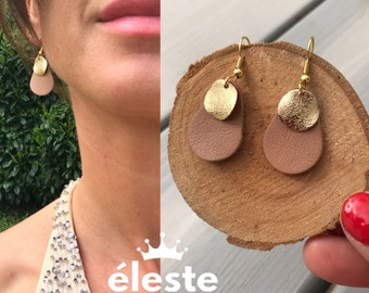 Wedding earrings, nude leather original evening attached hypoallergenic and anti oxidant