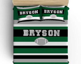 FOOTBALL BEDDING, Football Comforter, Boy Sports Duvet Cover, Sports Pillowcase Bedding, Toddler, Twin, Queen- King, Boy Bedding Set